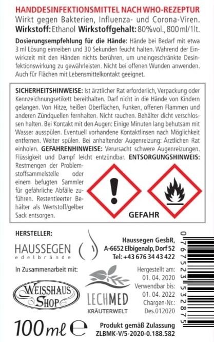 100ml Hand-Desinfektionsmittel Spray nach WHO-REZEPTUR Regional in Tirol hergestellt